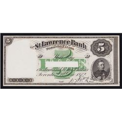 St. Lawrence Bank $5, 1872