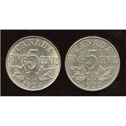 1922 Five Cents - Lot of 2