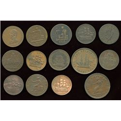 Miscellaneous Canadian Pre-confederation Tokens. Lot of 14