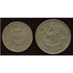 Counterstamps on Canadian Tokens. Lot of 2