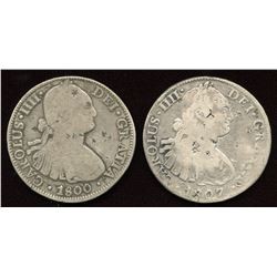 Chopmarked Eight Reales. Lot of 2