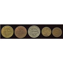 L.G. Marineau Tokens. Lot of 5