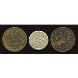 A. Bain Tokens. Lot of 3