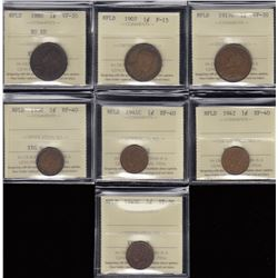 Newfoundland One Cents Lot of 7 ICCS Graded