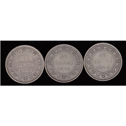 Newfoundland Fifty Cents Lot of 3
