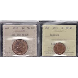 Canada One Cents Lot of 2 ICCS GradedCoins