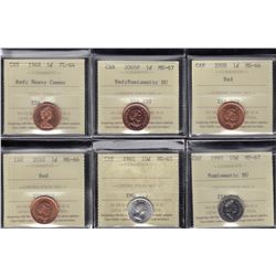 Canada One & Ten  Cents Lot of 6 ICCS Graded Coins