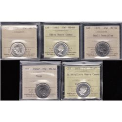 Canada Twenty-Five Cents Lot of 5 ICCS Graded Coins