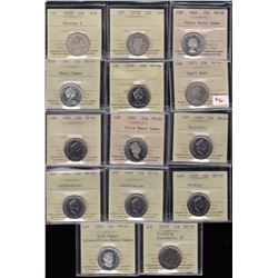 Canada Twenty-Five Cents Lot of 28 ICCS Graded Coins