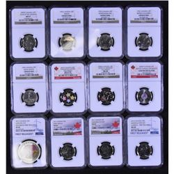 Canada Twenty-Five Cents Lot of 12 NGC Graded  Coins