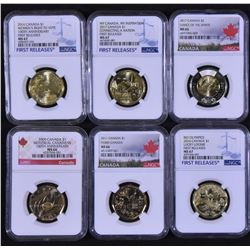 Canada Loonies and Two Dollar Coins Lot of 6 NGC Graded