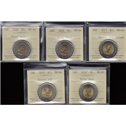 Canada Two Dollars Coins Lot of 5 ICCS Graded