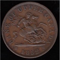 Bank of Upper Canada, 1852 - with wide 2, One Penny.