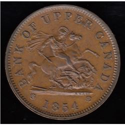 Bank of Upper Canada, 1854 - with plain 4, One Penny.
