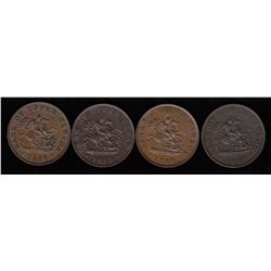 Lot of Four One Half-Penny Bank of Upper Canada Tokens.