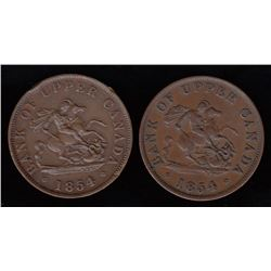 Bank of Upper Canada One Half-Penny Tokens - Lot of Two