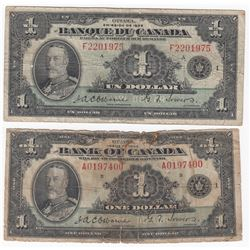Bank of Canada $1, 1935 - English & French Lot of 2