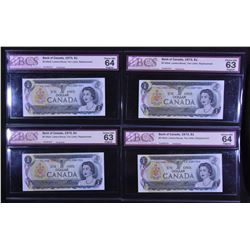 Bank of Canada $1, 1973 - *AL Replacements - Lot of 11