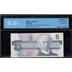 Bank of Canada $5, 1986 Changeover