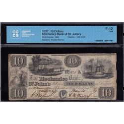 Mechanics Bank of St. John's $10, 1837