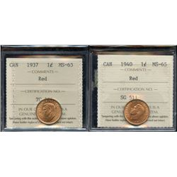 Lot of 2 ICCS Graded One Cents