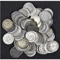 Lot of 100 Circulated 5 Cents Silver Coins