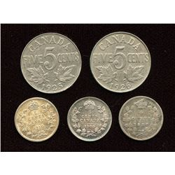 Lot of 5 Five Cents with Key Dates