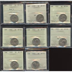 Lot of 8 ICCS Graded Five Cents