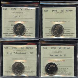 Lot of 4 ICCS Graded Five Cents