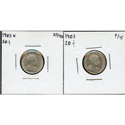 1903 & 1903H Ten Cents - Lot of 2