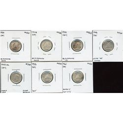 Canada Ten Cents Variety - Lot of 7