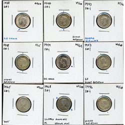 Canada Ten Cents Variety - Lot of 9