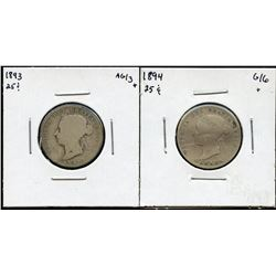 1893 & 1894 Twenty-Five Cents