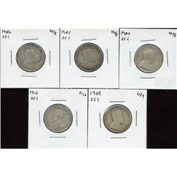 Canadian Twenty-Five Cents - Lot of 5