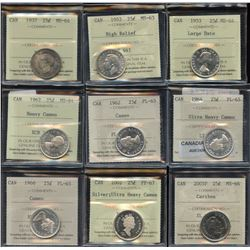 Lot of 9 ICCS Graded Twenty-Five Cents