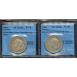 1943 & 1944 Fifty Cents Varieties