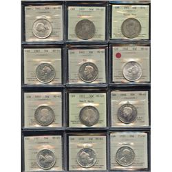 Lot of 12 ICCS Graded Fifty Cents