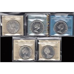 Lot of 5 Graded Silver Dollars