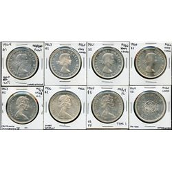 Lot of 8 Proof Like Silver Dollars