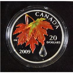 2009 Canada $20 Autumn Showers Crystal Raindrop Fine Silver Coin