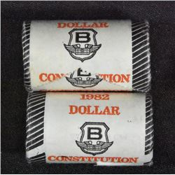 Pair of 1982 Canada Constitution Dollar Original Roll of 20pcs/each. 2 Rolls