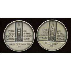 2 x Canada Long & Efficient Service Sterling Silver Medals- Named