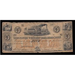 South Western Railroad Bank $5, 1864