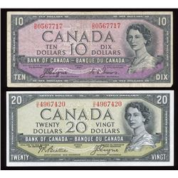 Bank of Canada $10 & $20, 1954 Devil's Face Notes