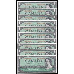 Bank of Canada $1, 1954 Lot of 10 Consecutive Replacements