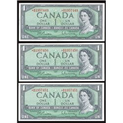 Bank of Canada $1, 1954 Lot of 3 Consecutive Replacements