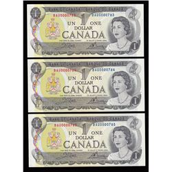 Bank of Canada $1, 1973 - Lot of 3 Consecutive Low Numbers