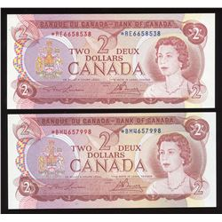 Bank of Canada $2, 1974 - Lot of 2 Replacements
