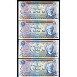 Bank of Canada $5, 1972 - Lot of 4
