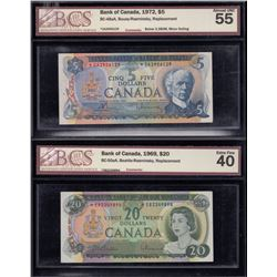 Bank of Canada $5 & $20 Replacements